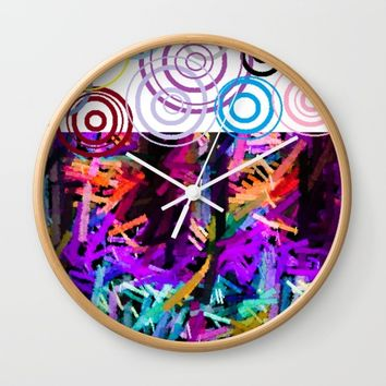 Rainbow drops Wall Clock by violajohnsonriley