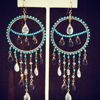 ON SALE ELENA Dea Bohemian Elegant Gypsy Dangle Chandelier Turquoise Earrings