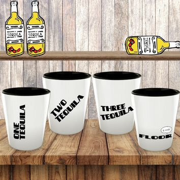 One Tequila Two Tequila Three Tequila Floor Shot Glass Set of Four Funny Shotglasses - Ceramic - White