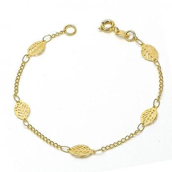 Gold Layered 06.09.0001.07 Fancy Bracelet, Leaf and Filigree Design, Polished Finish, Gold Tone