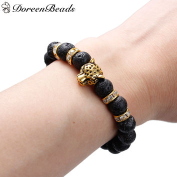 Stone Lava Beaded Healing Bracelet with Antique Gold Leopard Head Clear Rhinestone Elastic for Agility