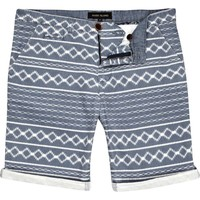 Blue aztec stripe turn up shorts - shorts - sale - men
