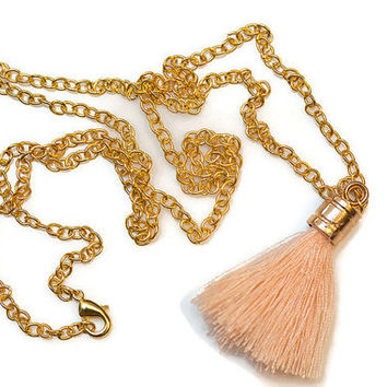 Boho Tassel Necklace With Gold Chain [6 Colors] - PeysDesigns
