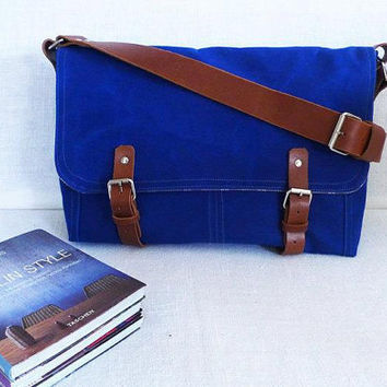 Blue Waxed Canvas Single Leather Strap Messenger bag / by ottobags