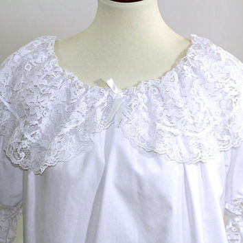 Ladies Square Dance Blouse White w/ Lace Collar & Sleeves | Off Shoulder Scoop Neck Sq Dance Top 3/4 Puff Sleeves Sz M | Square Up Fashions