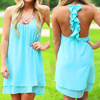 Lake Blue Sleeveless Backless Chiffon Dress