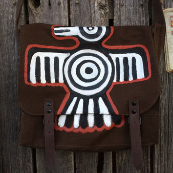 Hand Painted Aztec Bird Brown Canvas Messenger Bag, Cross Body Bag, Shoulder Bag, iPad Bag, Travel Bag, Work Bag, Boho Bag,Tribal,Canvas Bag