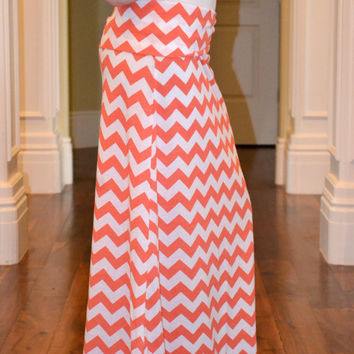 Coral and White Chevron Maxi Skirt - Adjustable Womens Maxi - Chevron Maxi Dress
