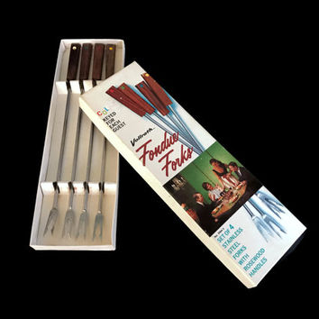 Vintage Fondue Forks Mid Century Wood and Stainless Steel Set of 4 MCM Multi Color Tips Kitchen Fondue Skewers Fondue Fork Set Original Box