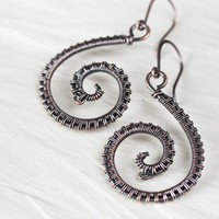 Handmade Copper Earrings - Elegant Wire Wrapped Solid Copper Spiral