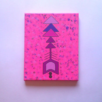 Arrow acrylic canvas painting for girls room