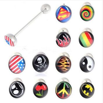 1Pc New Fashion Stainless Steel Ear Plugs Expander Stretchers Bar Tongue Piercing Tongue Ring Body Piercing Jewelry