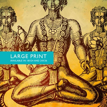 "Hindu God Vishnu Print Vintage Hindu Decor Wall Art - Giclee Print 18x24"" 24x36"" - Large Giclee Print on Cotton Canvas and Satin Paper"
