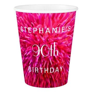 Hot Pink Abstract Paper Cups, 90th Birthday Party Paper Cup