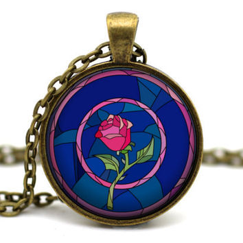 Beauty and the Beast Necklace, Enchanted Rose, Beauty and the Beast Jewelry, Disney neckace, Disney jewelry, Princess Belle, Belle jewlery