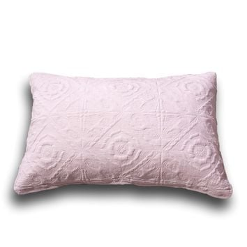 "DaDa Bedding Elegant Country Floral Rose Pink Quilted King Pillow Sham, 20"" x 36"" 1-PC (JHW860)"