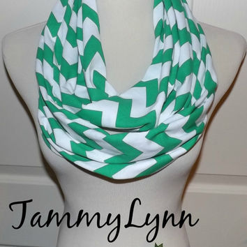 NEW!! Kelly Green Fall Chevron Scarves Chevron Zig Zag Jersey Knit Infinity Scarf Scarves