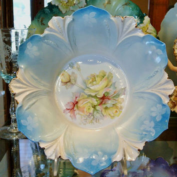 RS Prussia Bowl Antique Porcelain 1900s Victorian Art Nouveau Germany Big Yellow Roses Blue Background Rare Hard to Find Bowl Centerpiece