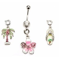 Belly Button Ring Navel 14g 7/16 Navel Palm Tree, Flower Flip flop Gem interchangeable - Walmart.com