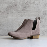 faux suede side cut out bootie - grey