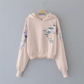 Women Fashion Embroidery Rose Flower Top Sweater Pullover Hoodie Pink