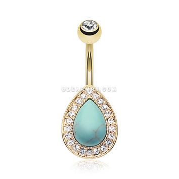 Golden Avice Turquoise Multi-Gem Belly Button Ring (Clear)