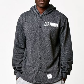 Diamond Supply Co Ajaye Button Up Hoodie - Mens Hoodie - Heather Black