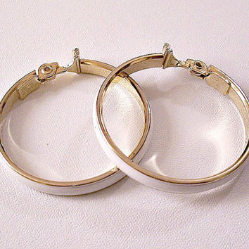 Monet White Hoops Clip On Earrings Gold Tone Vintage Extra Large Round Rings Striped Edges