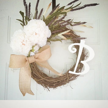 Spring Wreath/ Front Door Wreath/ Floral White Wreath/ Handmade Wreath/ Custom Wreath/ Chic Wreath/ Happy Home Wreath