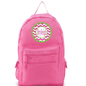 Pink Chevron Personalized Hot Pink Backpack
