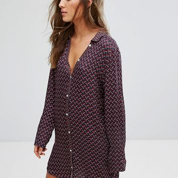 Tommy Hilfiger Silky Woven Long Sleeve Nightdress at asos.com