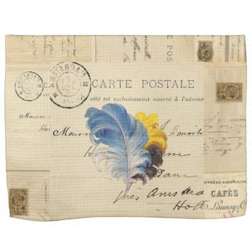 Vintage Blue Yellow Feathers French Postcard Towel
