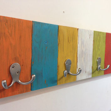 Reclaimed wood coat hook rack multicolor with double hooks - rustic, distressed, vintage, shabby chic kids coat rack