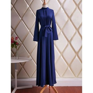 Brief Women's Long Sleeve Cotton Blend Blue Dress Evening Party Full Length Maxi Gown Dresses S4