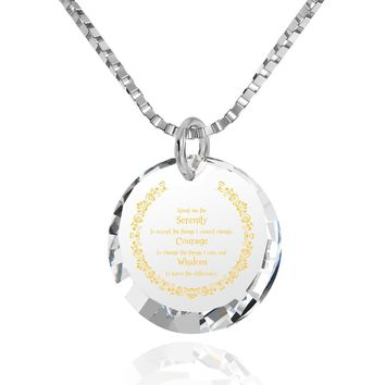 Serenity Prayer, 14k White Gold Necklace, Cubic Zirconia