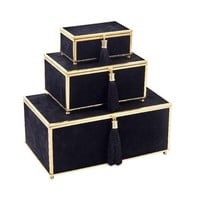 Appealing Velveteen Storage Boxes With Tassel, Black, Set Of 3 -Sagebrook Home