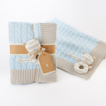 My Sweet Baby Classic Cable Knit Blanket (Blue)