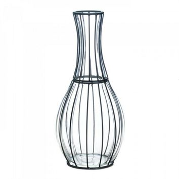 Tall Glass And Metal Vase