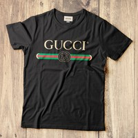 GUCCI classic tide brand men and women retro classic logo short-sleeved T-shirt Black