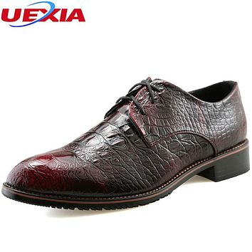 UEXIA Leather Casual Men Oxford High Quality Pointed Soft Leather Oxford Dress Men Shoes Dress Formal Business Crocodile Pattern