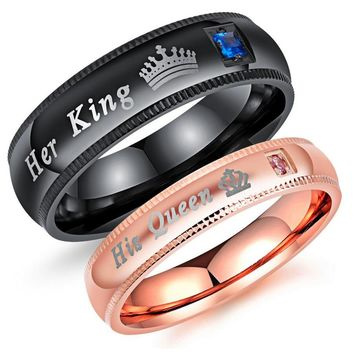 Engagement Promise Ring Bands King And Queen Stainless Steel Anel Masculino KQ0091