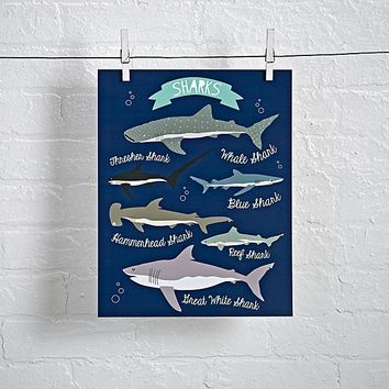 I Love Sharks Unframed Wall Art