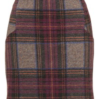 Brushed Check High-Waisted Mini Skirt - Topshop