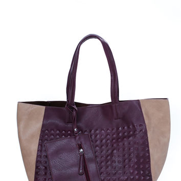Studly Contrast Paneled Tote Bag
