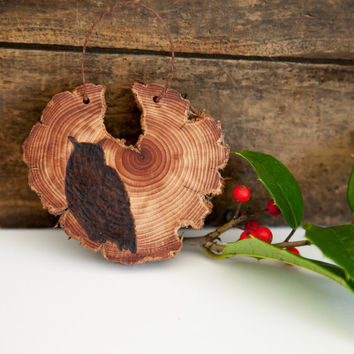 Wood Burned Owl on Cedar Heart.  Woodland Animal Ornament or wall hanging