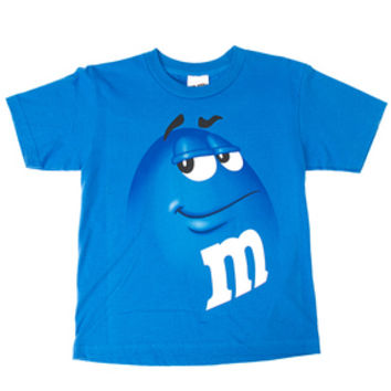 M&M's Candy Character Face T-Shirt - Youth - Blue - Large