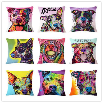 Animal Series Cartoon Style Throwpillow Decor Cushion Linen Cotton Colorful Dog
