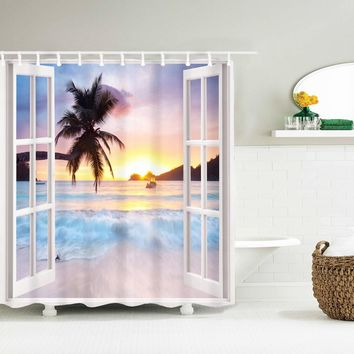 Palm Trees Sunset Fabric Shower Curtain Beach Ocean Sand Paradise Bath Decor