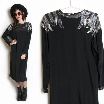 80s Silk and Sequin Dress - Silk Tunic - Silk Kaftan Caftan - Black Silk Dress - 80s 1980s - Sequins Dress - Sequin - Beaded Dress 80s Dress
