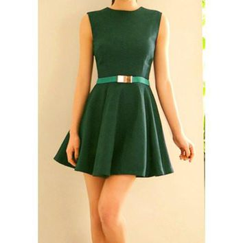 Green Sleeveless Mini Dress Without Belt